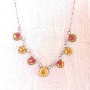 Flowers & Sterling Delicate Necklace 925 & Resin